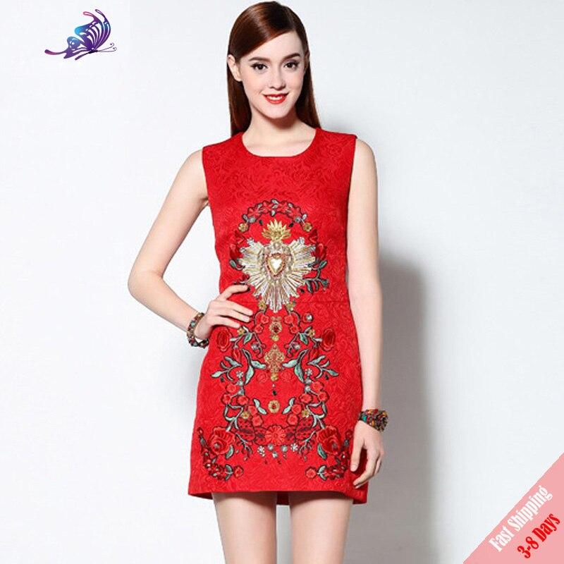 2019, высокое качество, летнее подиумное платье, женское милое красное цветочное вышитое бисером платье на бретелях без рукавов, 2019