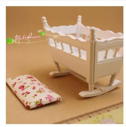 1:12 Мини куклы мебель для дома белый свежие цветы на колыбель shokugan модель