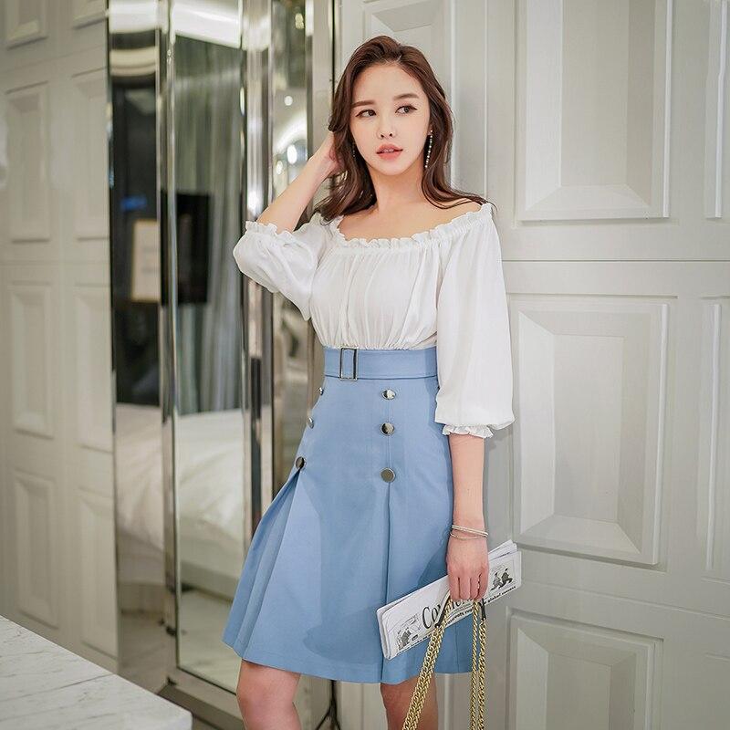 Dabuwawa New Women Splicing Midi Dress Elegant Lantern Sleeve Midi Dress Korean Slim Office Lady Dresses