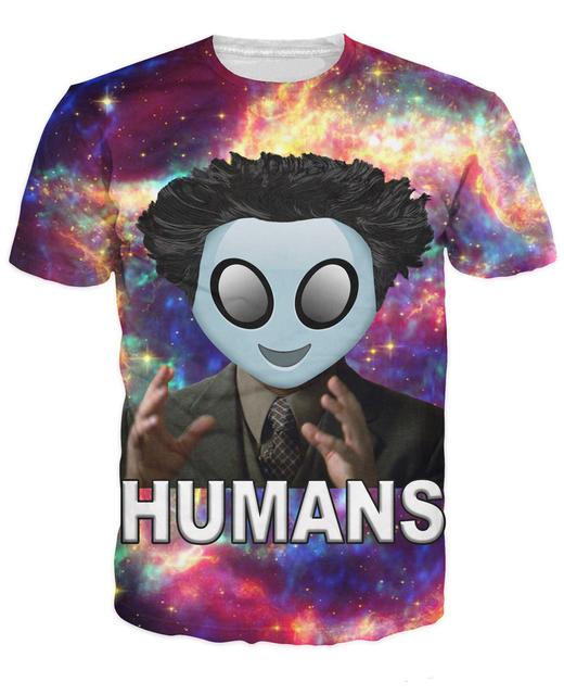 Humans Camiseta Giorgio Una. Tsoukalos Extranjeros divertido 3d de impresión t camisa de Las Mujeres de Los Hombres espacio galaxy camisetas Sexy tops camisas casuales