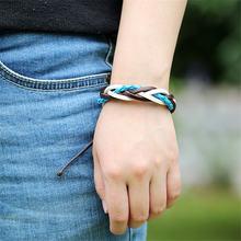 Doreenbeads модный браслет из вощеной кожи белого и синего цвета