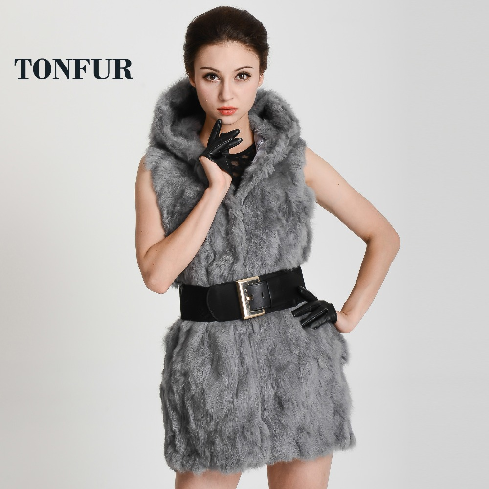 Aliexpress.com : Buy real rex rabbit fur vest with hooded women's ...