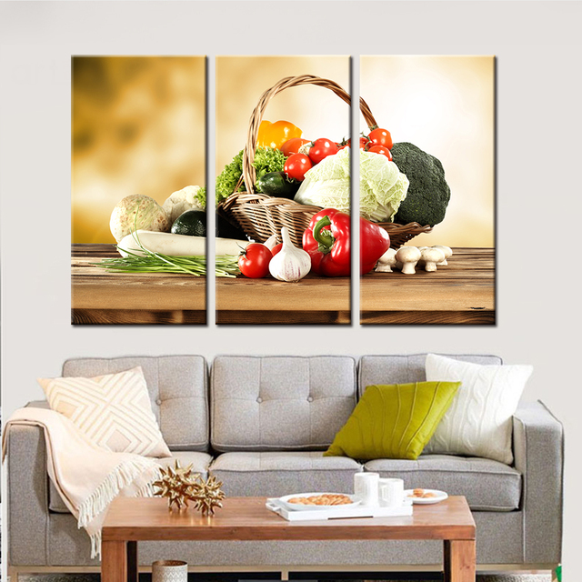No Frame 3 Pieces Drop Shipping Still Life Canvas Art Wall Vegetables  Picture Home Decor For