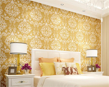 цена на beibehang Advanced colors non-woven wall paper European style gold living room bedroom full of wallpaper papel de parede tapety