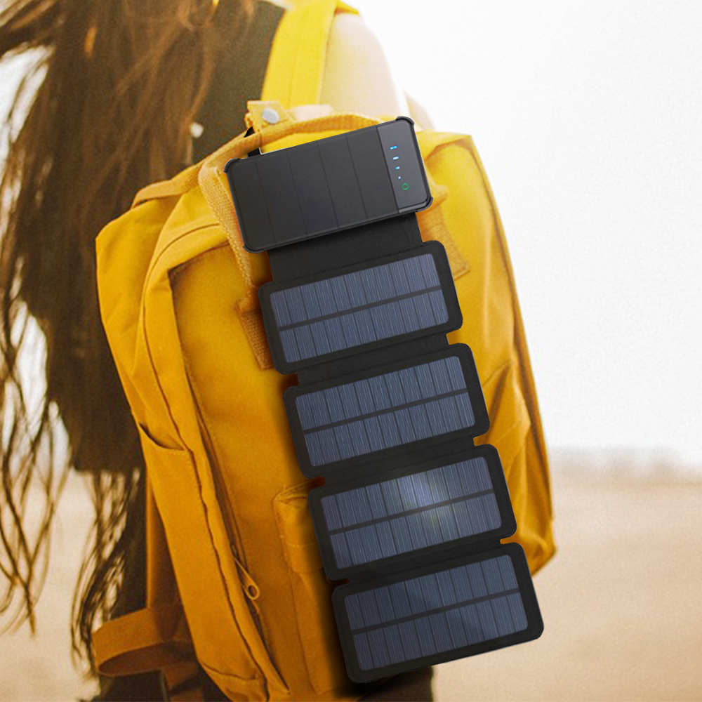 Solar Power Bank 20000mAh Waterproof Solar Charger External Battery Backup Pack for Cell Phone Tablets for xiaomi Random color