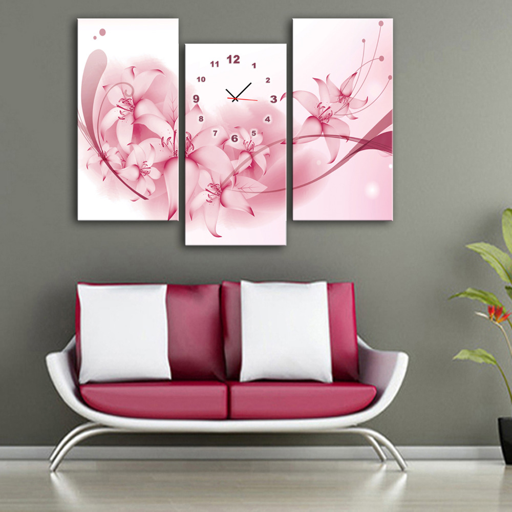 Бесплатная доставка E-HOME розовые цветы часы в холст 3 шт. настенные часы