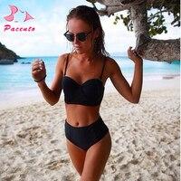 Mejor Traje de baño talla grande mujer traje de baño Sexy alta cintura bandeau bikini mujeres trajes de baño push-up playa Bikini brasileño conjunto Plavky