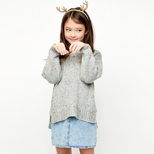 High Quality  Sweater Teenage Winter Pullover Solid Knitted Sweater Top for Girls Autumn Female Sweater