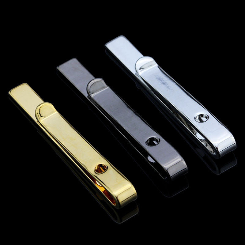 Silver Blank Metal Tie Clip Holder 50mm Stainless Steel Clasp Mens Bar Pin Plain
