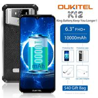 OUKITEL K12 5V 6A Smartphone Android 9.0 Mobile Phone 6.3'' 19.5:9 MTK6765 6G RAM 64G ROM NFC 10000mAh Quick Charge Fingerprint