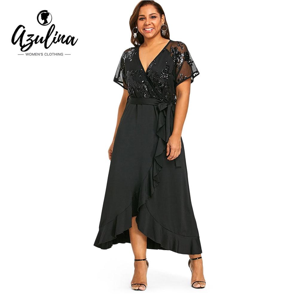 AZULINA Plus Size Sequins Belted Maxi Dress 2018 Women Summer Dresses Short Sleeve V-Neck Elegant Party Dress Vestidos Robe 5XL