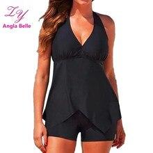 Swimsuit Shorts Tankini Bikini Set Plus Size Swimwear Women Skirt Biquini Swimming Suit for Women Halter Swim Bathing Suit Wear