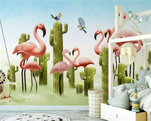 beibehang Custom wallpaper mural Nordic small fresh 3D cactus flamingo background wall painting papel de parede 3d