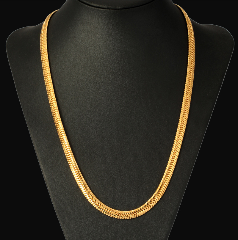 New Hot Hip Hop Jewelry Snake Chain Necklace Wholesale 2017  Trendy Stainless Steel Gold Color Men Gift Chain Necklace