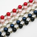 1000x8mm Handmade Glass Pearl Beads Antique Bronze Chains For DIY Ivory/white/Black/Red/Darkblue, about 76pcs/strand