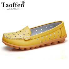 TAOFFEN 34 Colors Real Leather Women Daily Flats Sh