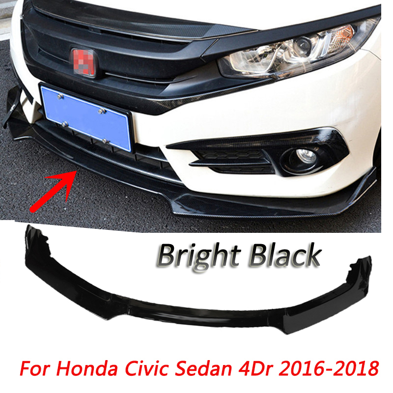 For Honda Car Front Bumper Lip Spoiler Diffuser Lip Body Splitter Civic Sedan 4Dr 2016 2018