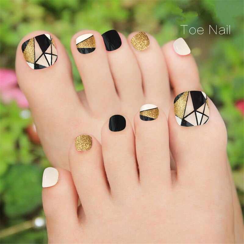 New Design False Toe Nails Glitter Decoration Finished Toe Nails ...