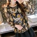 2017 Весна Осень Корейских Женщин Рубашка Шифон Оборками Цветочные Блузка Мода Печати Puff Длинным Рукавом тонкий Топы Blusa Feminina