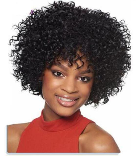 Pas Cher Courts Boucles Synthetique Perruque Naturel Noir Boucles Cheveux Courts Crepus Boucles Perruques Pour Les Femmes Noires Bob Afro Perruque Qui Ont L Air Reel Aliexpress