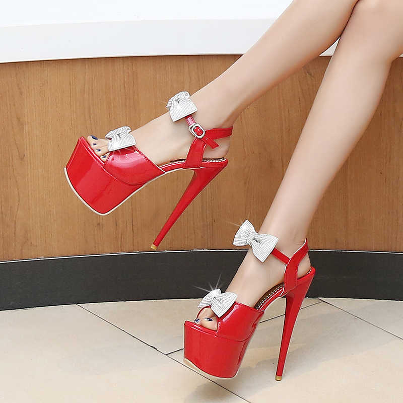 BLXQPYT platform sandaletler düğün Parti Kadın Seksi moda Büyük Boyut 31-48 Ayakkabı Süper Ince Yüksek Topuklu (16 CM) düğün ayakkabı 204