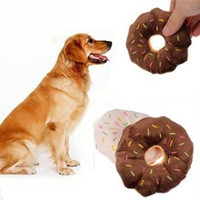 2019 11cm Cute & Funny Pet Products Donuts Puppy Cat Squeaker Squeaky Plush Sound Toys Chew Throw