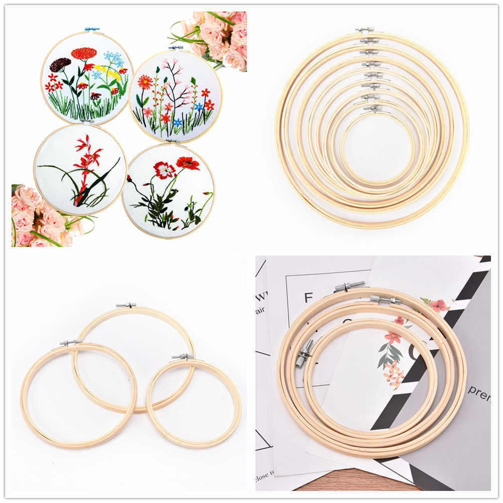 1Pc 5-34cm Wooden Handy Cross Stitch Machine Embroidery Hoop Ring Bamboo Frame Embroidery Hoop Round Needlecraft Sewing Tools