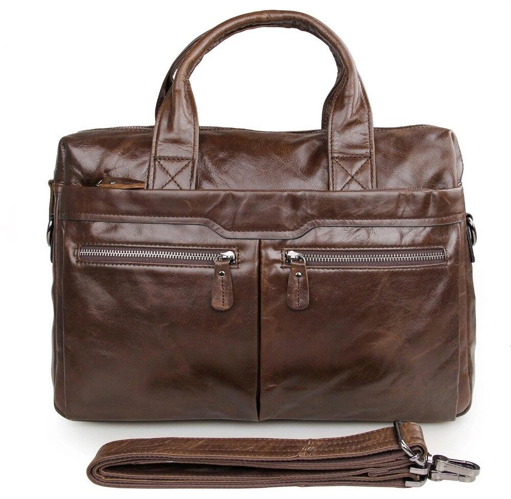 High Quality Fashion Vintage Genuine Leather Multifunction JMD Men's Briefcase Laptop Handbag Messenger Bag 7122C-1