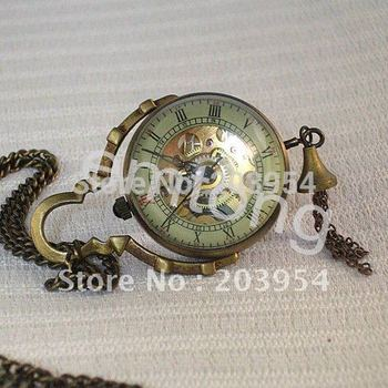 Ball wholesale 10pcs/lot Mechanical Pocket Watches hot Antique Vintage Brass Pendants necklace mens Womens Girl Chain jewelry