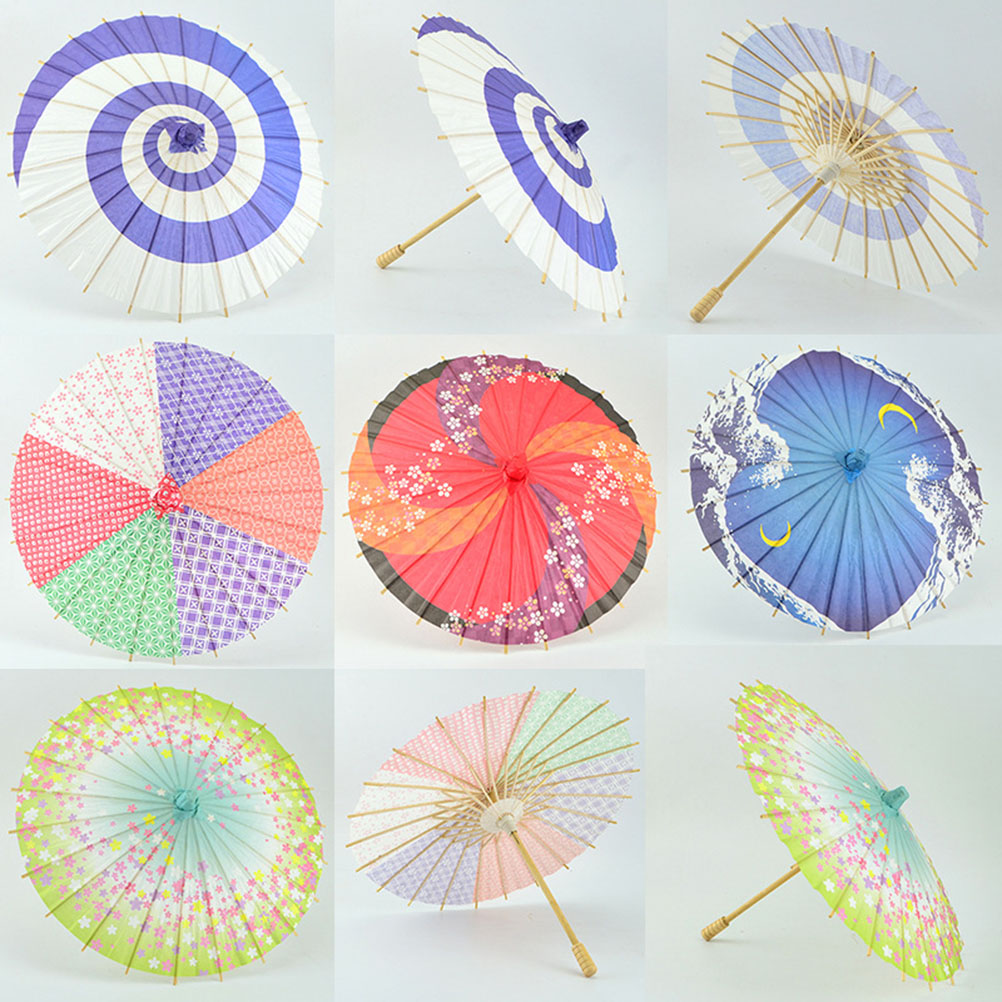 Japanese Style Paper Umbrella Mini Decorative Umbrella Dancing Prop Wedding Party Decor (Random Color)