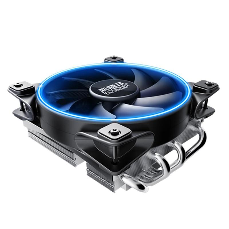 4 X Copper Heatpipes CPU Cooler Mute Cooling Fan Fluid Bearing Soft LED Heatsink Radiator for AMD/Intel blade server ultra thin cpu cooler fluid bearing mute cooling fan heatsink radiator ventilador for computer pc