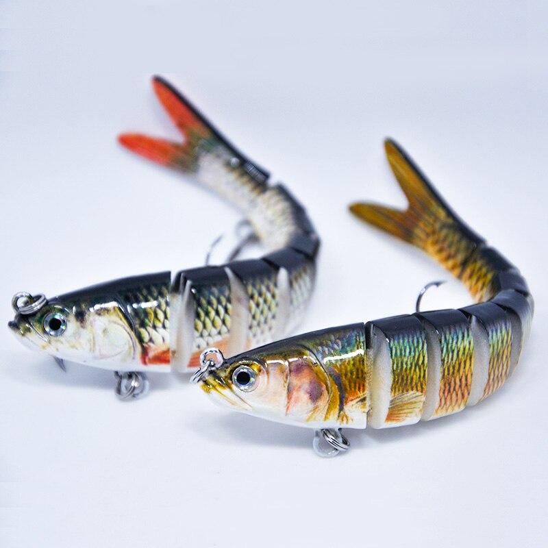 4 Segment Multi Jointed Fishing Lure Minnow Crank Baits Bass Life-like Swimbait