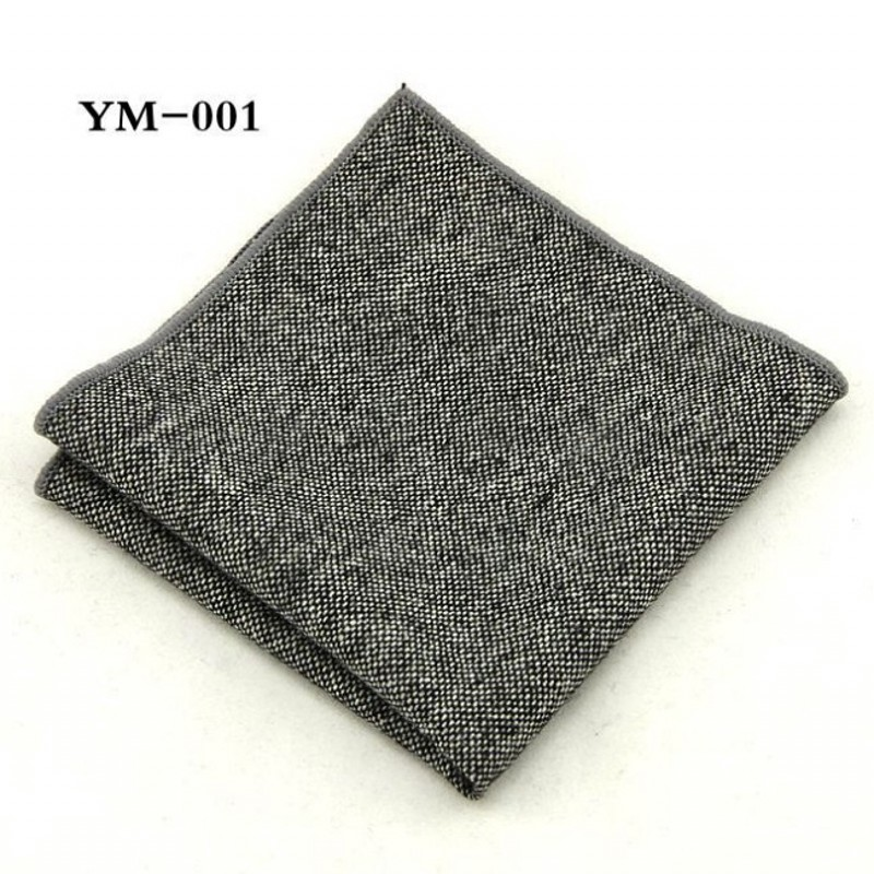 Ikepeibao New Men's Pocket Square Solid Handkerchiefs Wool Hankies 23*23cm
