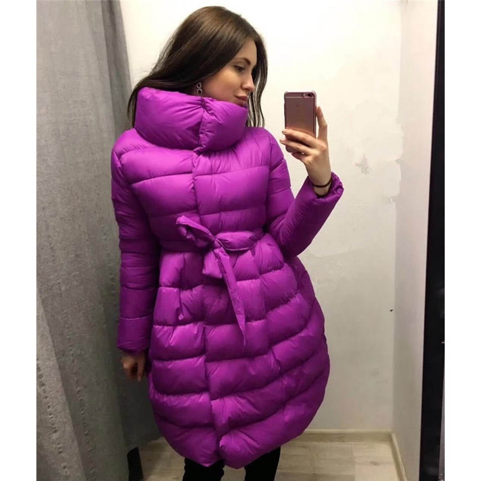 Fashion Womens Winter Jackets And Coats Real Women Winter Clothing Woman Warm Cotton Coat Belt A Word Female Parkas