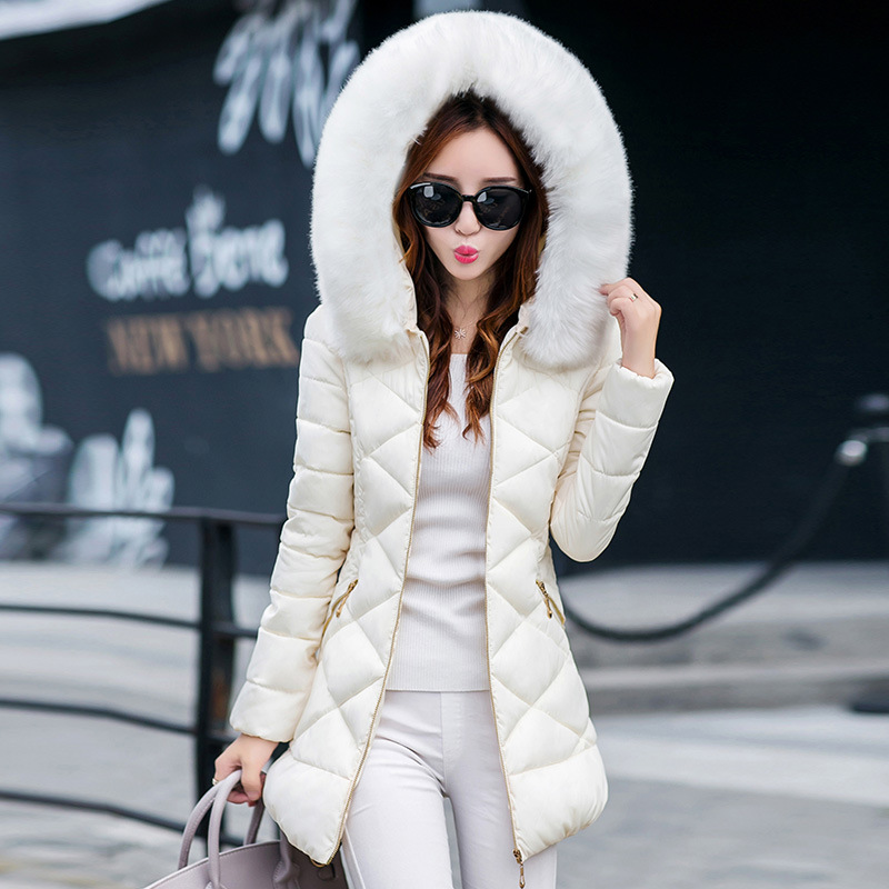 2017 new style fashion autumn and winter cotton women in the long section of  was thin warm collar cotton jacket clothes sky blue cloud removable hat in the long section of cotton clothing 2017 winter new woman