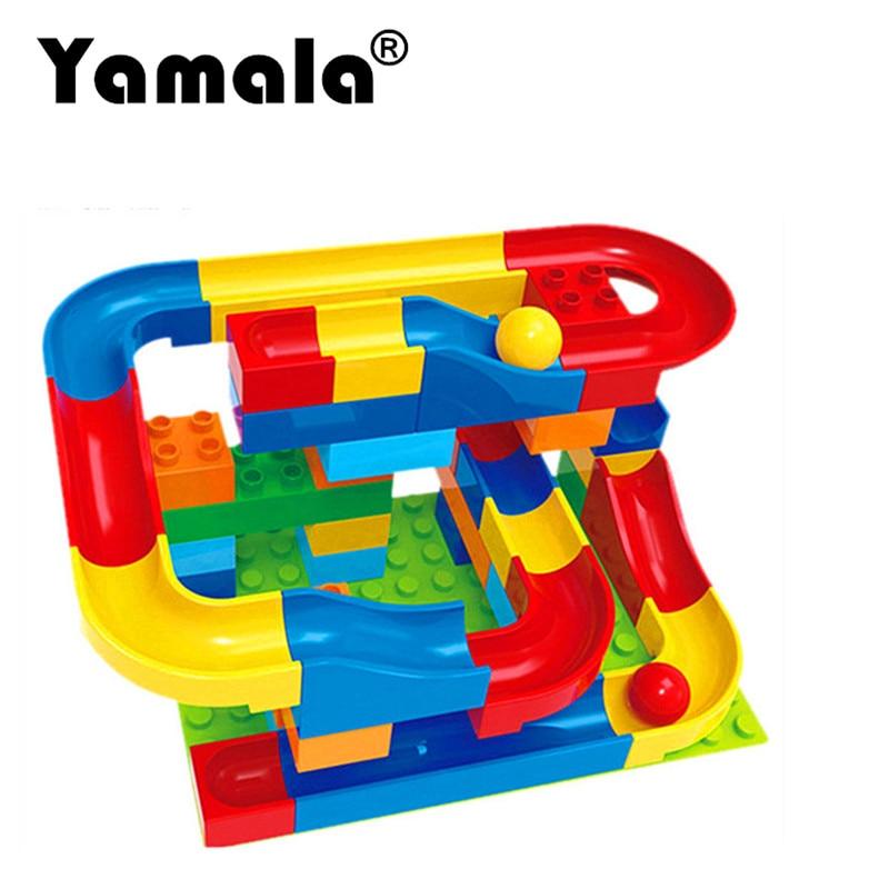 [Yamala] Run Rolling Ball Rail Building Block Enlighten Bricks Trajectory Education For Kids Compatible with Legoingly Duplo lego education 9689 простые механизмы