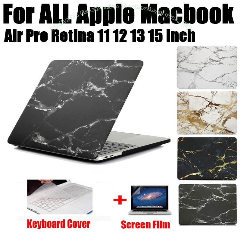 Divat márvány nyomtatás matt kemény védő tok MacBook Air 11 12 13 Pro 13 15 hüvelykes retina + billentyűzet fedél MB03