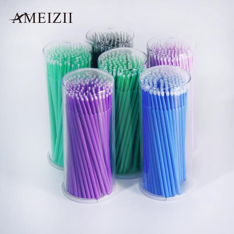 100Pcs/Pack Hot Lint Disposable Makeup Brushes Individual Lash Removing Tools Swab Micro brushes Eyelash Extension Tools 50pcs variety curvature convenient disposable eyelash brushes knife trimmer clipper tools safety shaver clips professional2
