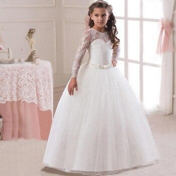 88c1ffb2531a0 6-16 yıl için zarif dantel kız uzun elbise düğün doğum günü çocuk tam tül  elbiseler uzun kollu İlk communion Frocks