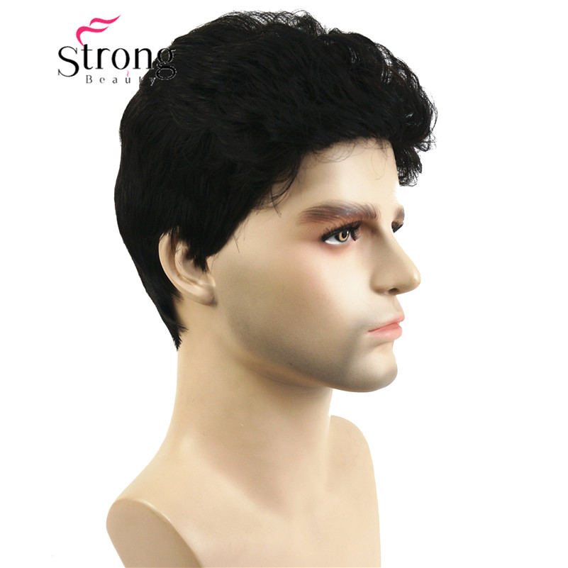 StrongBeauty Mens' Short Synthetic Hair Wig Natural Wave Dark Brown Wigs