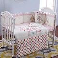 100% algodão bordado flores da árvore pássaro roupas de bebê menina rosa set colcha travesseiro bumper folha de cama 5 item berço da cama conjunto