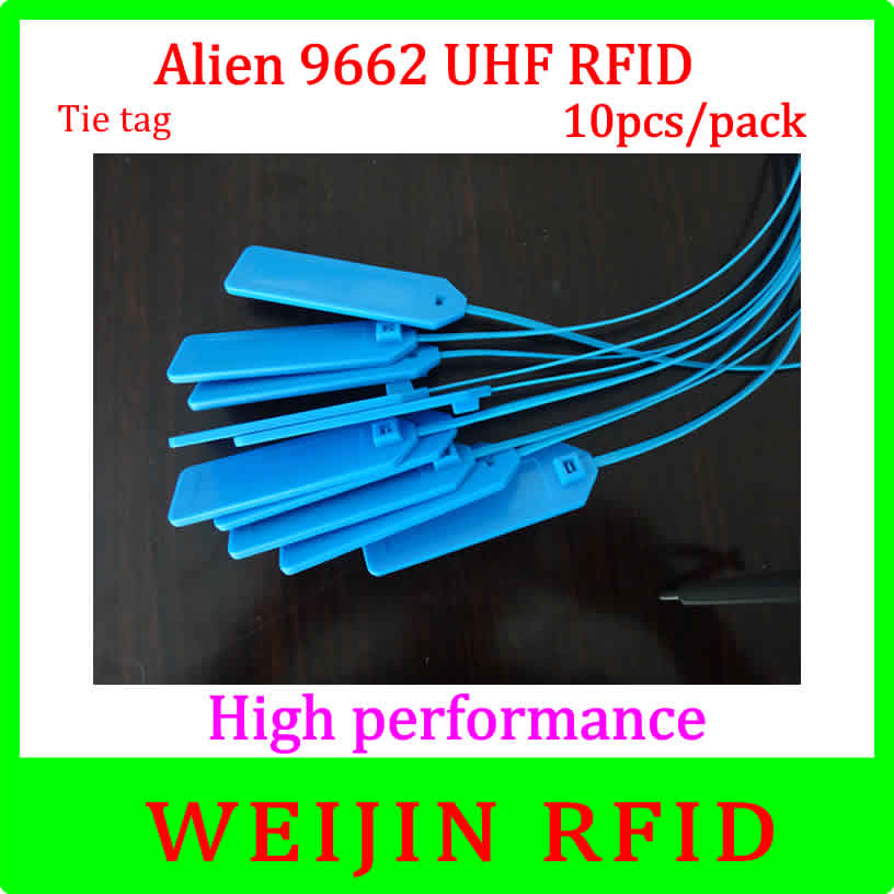 UHF RFID tape lable Alien authoried 9662 860-960MHZ 10 pcs per pack  Alien Higgs3 915M EPC long distance free shipping 1000pcs long range rfid plastic seal tag alien h3 used for waste bin management and gas jar management