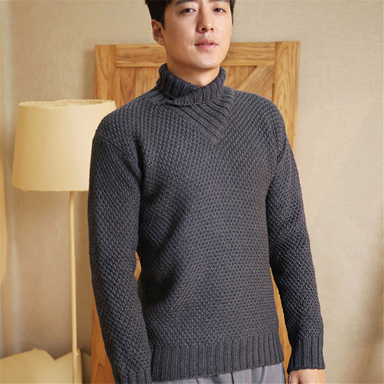 High Grade 100% Hand Made Pure Wool Turn-down Collar Knit Men Brief Solid Slim H-straight Pullover Sweater One&over Size