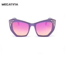 Megatina Moda Hombre Gafas de Sol Marca Diseñador Gafas de Sol UV400 Marco de Ojos de Gato Película de Color Femenino Gafas De Sol Mujer KS7132