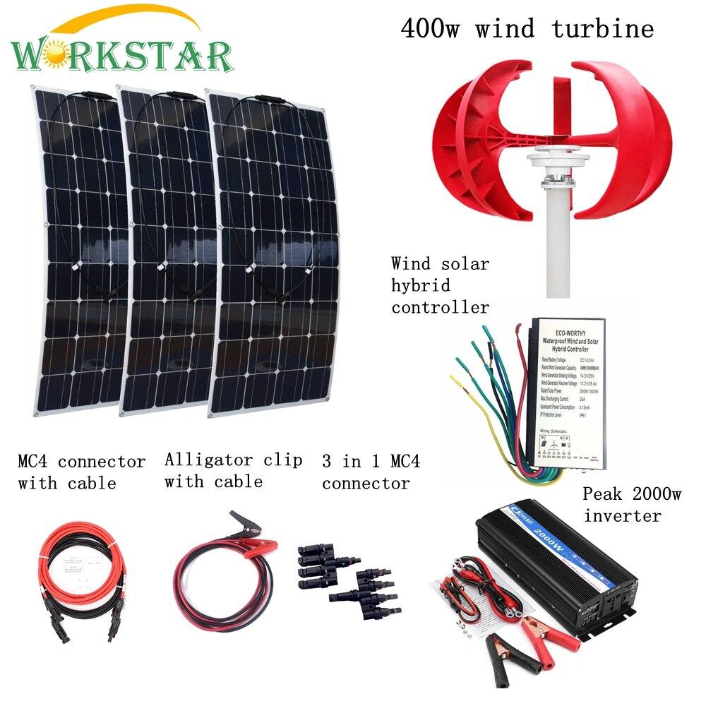 3 unids 100 W Solar Flexible módulos + 400 W generador de viento Vertical con 2000 W inversor y controlador 700 W viento sistema de energía Solar