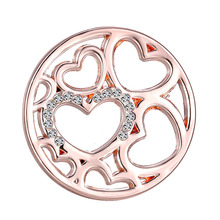 Fashion Jewelry Pendant in Long Chain Necklace 33mm Coins Disc for Interchangeable 35mm Coin Lockets Frame