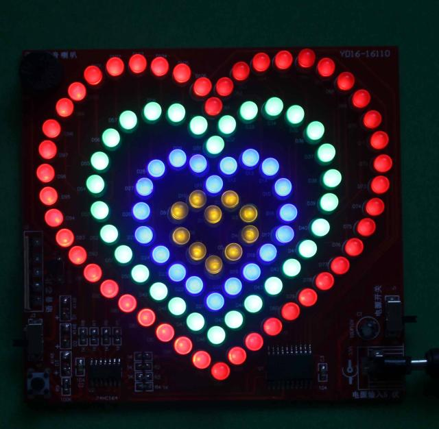 zirrfa SMD colorful LED heart shaped  Soldering Kits DIY Brain-training Toy ,led electronic diy kit  colarful led ball display rhythm lamp with infrared remote control electronic diy kits soldering kits diy brain training toy