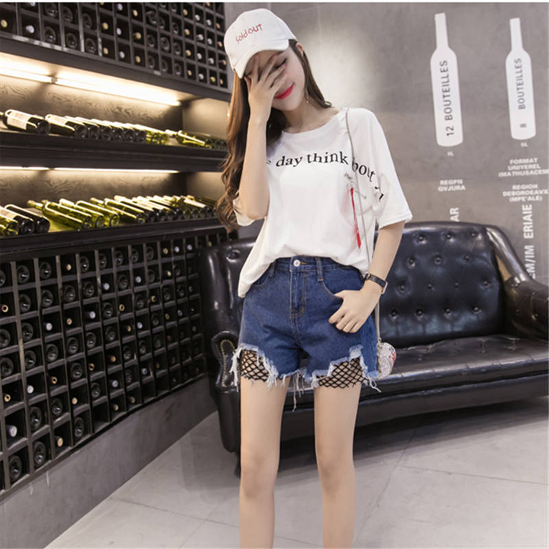 Fashion Cool Summer Denim Shorts Female Loose Plus Size S-5XL Hollow out Holes Nets Tassel Street Short Jeans for Women 4 Colors