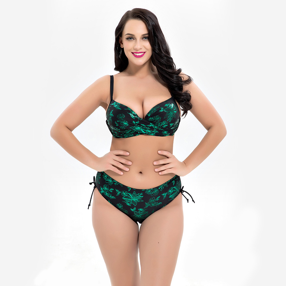 <font><b>2018</b></font> Plus Size <font><b>Bikini</b></font> <font><b>Set</b></font> Push Up <font><b>Floral</b></font> Print Swimsuit <font><b>Sexy</b></font> <font><b>High</b></font> <font><b>Waisted</b></font> <font><b>Swimwear</b></font> Ladies Big Chest Beach Wear Maillot De Bain image