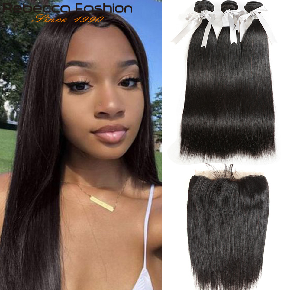 Rebecca Malaysian Straight Hair 8 To 28 30 Inch Bundles With Frontal Non Remy Human Hair